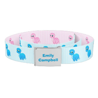 Cute Pink and Blue Baby Dinosaurs Belt