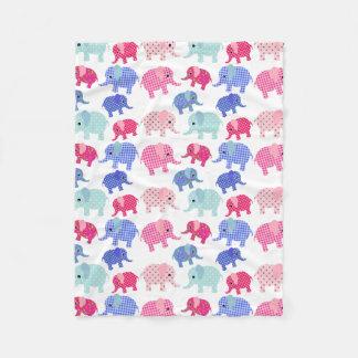 CUTE PINK AND BLUE ELEPHANTS PATTERN FLEECE BLANKET