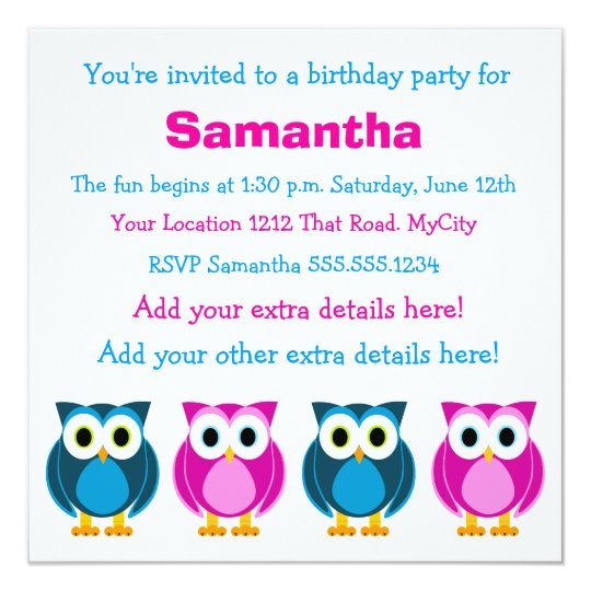 Cute Pink and Blue Owl Birthday Invitation