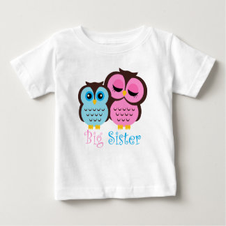 Cute Pink and Blue Owls Big Sister Little Brother Baby T-Shirt