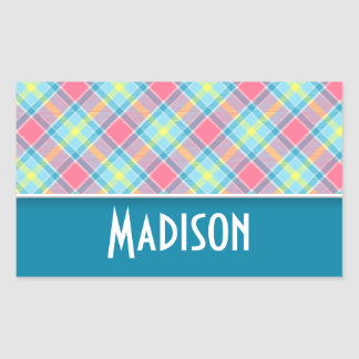 Cute Pink and Blue Plaid Rectangle Stickers