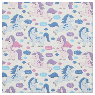 Cute pink and blue unicorns pattern Fabric