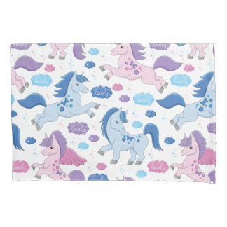 Cute pink and blue unicorns pattern Pillowcase