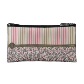 Cute Pink and Brown Cosmetic Bag