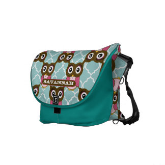 Cute Pink and Brown Owl Pattern You Choose Colors Courier Bags