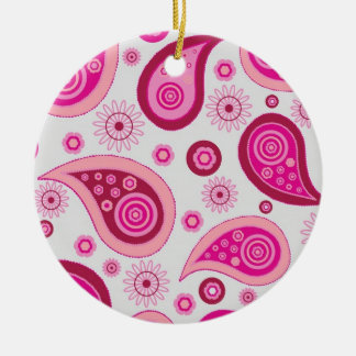 Cute Pink and Brown Paisley Round Ceramic Decoration