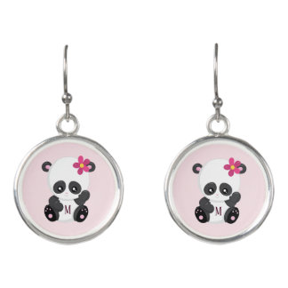 Cute Pink and Chic Panda Earrings