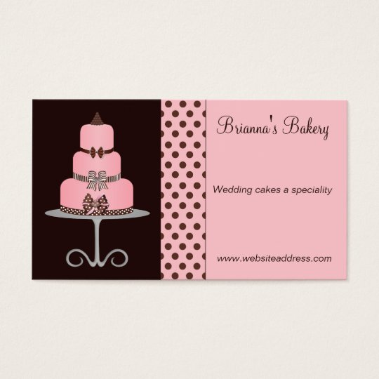 Cute Pink and Chocolate Brown Bakery Business Card
