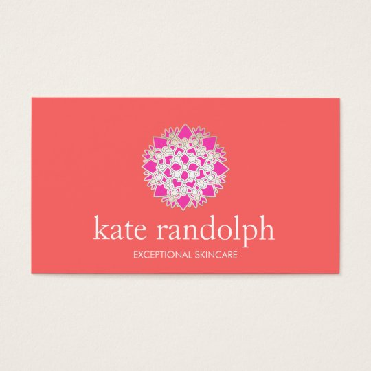 Cute Pink and Coral Lotus Beauty Salon and Spa Business Card