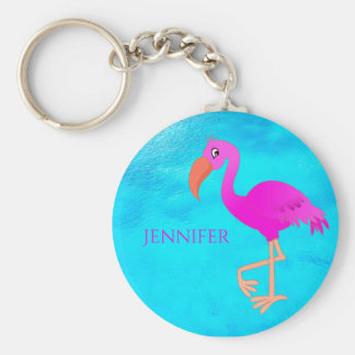 Cute pink and girly tropical flamingo on blue sea key ring