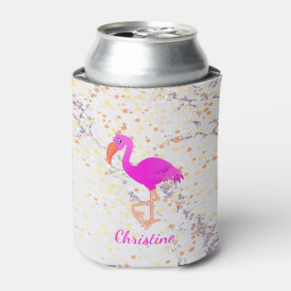 Cute pink and girly tropical flamingo on marble can cooler