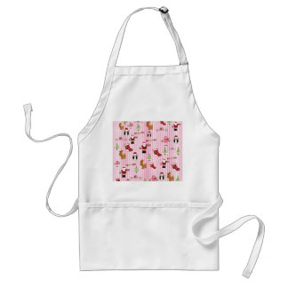 Cute Pink and Green Christmas Collage Apron