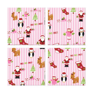 Cute Pink and Green Christmas Collage Canvas Print