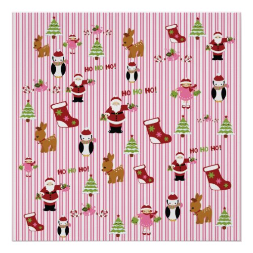 Cute Pink and Green Christmas Collage Posters