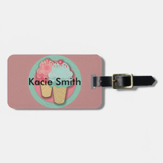 Cute Pink and Green Ice Cream Cone Luggage Tag