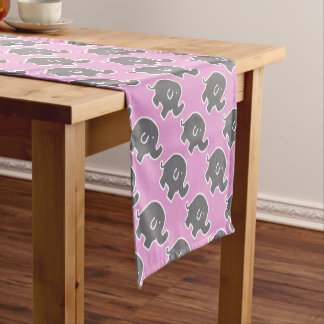 Cute Pink And Grey Elephants Pattern Short Table Runner