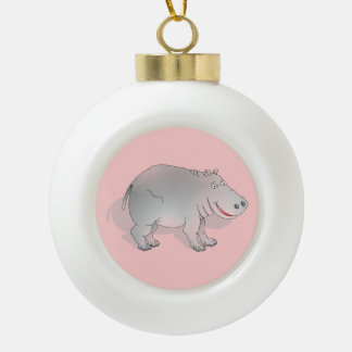 Cute pink and grey hippo ceramic ball decoration