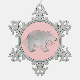 Cute pink and grey hippo pewter snowflake decoration