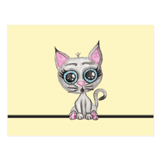 Cute Pink and Grey Watercolor Kitty Cat on