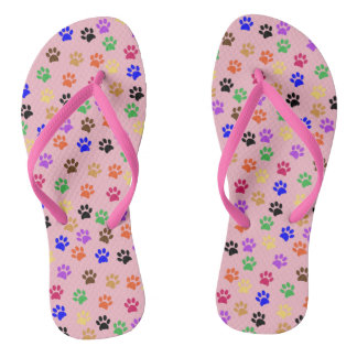 Cute Pink and Multi Color Cat Paw Prints Pattern Flip Flops