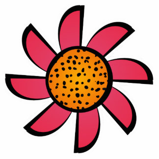 Cute Pink and Orange Flower Magnet Photo Cutout