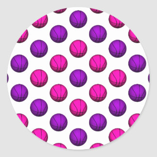 Cute Pink and Purple Basketball Pattern Classic Round Sticker