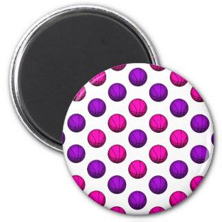 Cute Pink and Purple Basketball Pattern Fridge Magnet