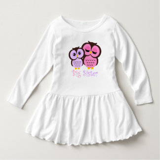 Cute Pink and Purple Owls Big Sister Tee Shirts