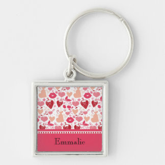 Cute Pink and Red Hearts and Lips Personalized Key Ring