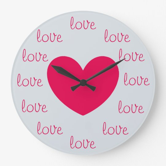Cute Pink and Silver LOVE Wall Clocks