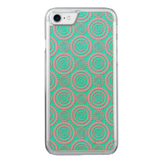 Cute Pink and Turquoise Geometric Pattern Carved iPhone 8/7 Case
