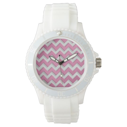 Cute Pink and White Brushed Metal Chevron Pattern Wrist Watches