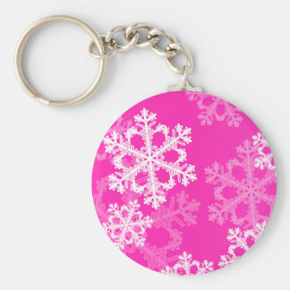 Cute pink and white Christmas snowflakes Key Ring