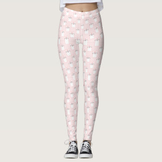 Cute Pink and White Fluffy Cats Pattern Leggings