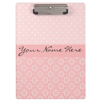 Cute Pink and White Polka Dots Clipboard
