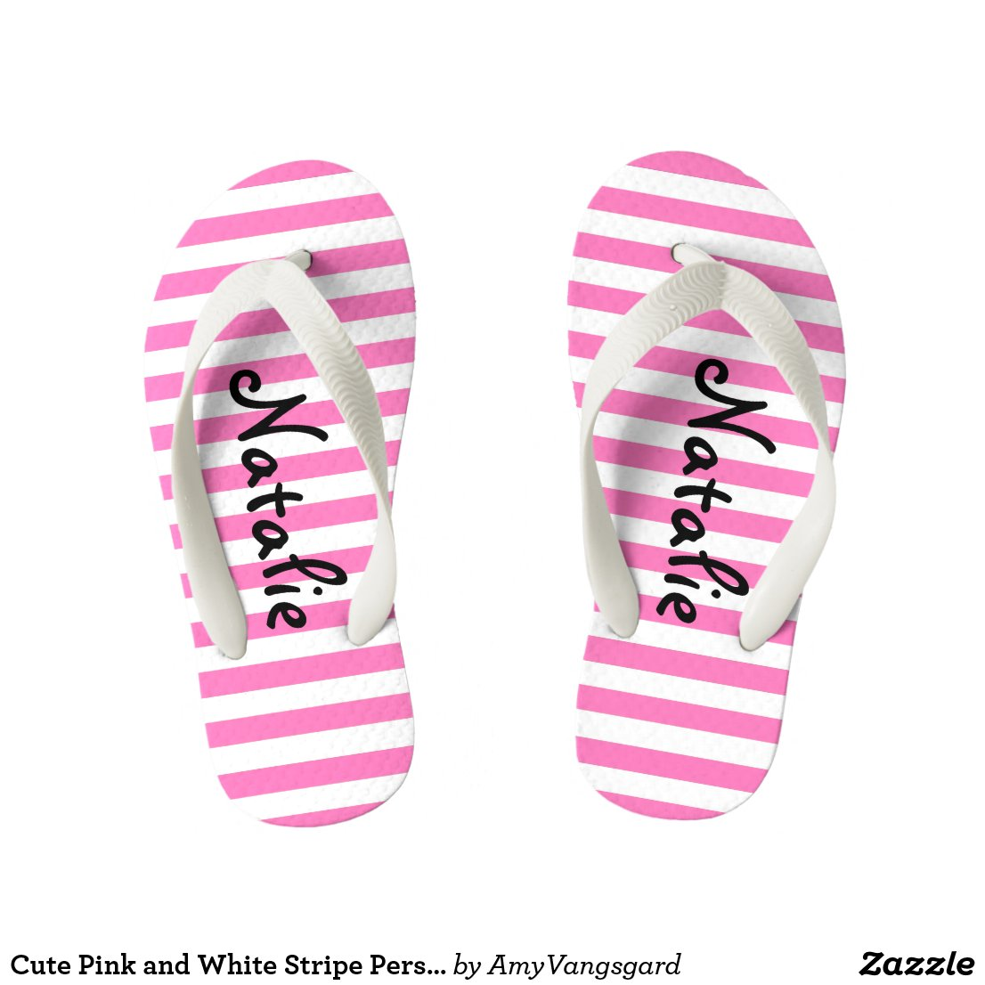 Cute Pink and White Stripe Personalised