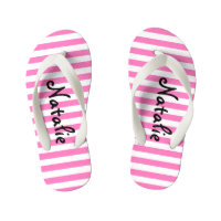 Cute Pink and White Stripe Personalised Flip Flops