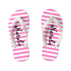 Cute Pink and White Stripe Personalised Kid's Flip Flops