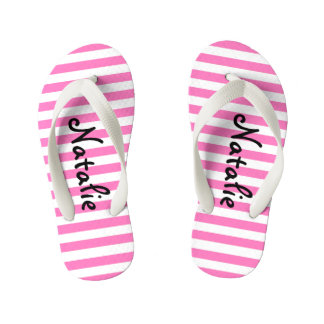 Cute Pink and White Stripe Personalized Kid's Flip Flops
