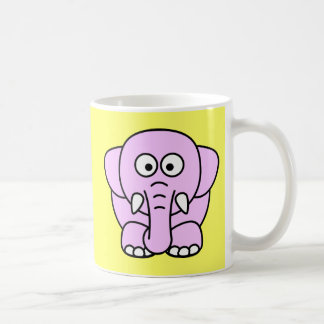 Cute pink animated little elephant coffee mug