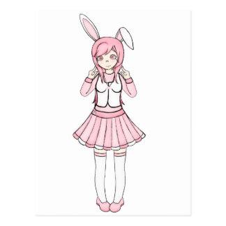 Cute Pink Anime Bunny Girl Lolita Postcard