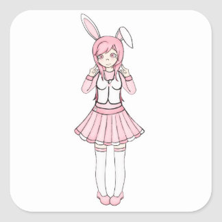 Cute Pink Anime Bunny Girl Lolita Square Sticker