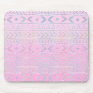 Cute Pink Aztec Art Influenced Pattern Mouse Pad