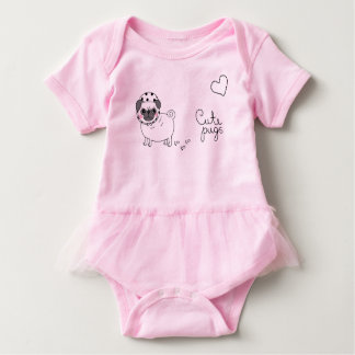 cute pink baby bodysuit with pug
