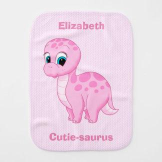 Cute Pink Baby Brontosaurus Dinosaur Burp Cloth