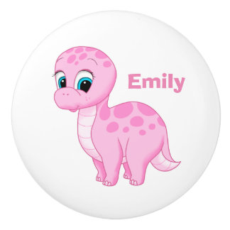 Cute Pink Baby Brontosaurus Dinosaur Ceramic Knob