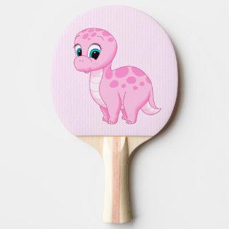 Cute Pink Baby Brontosaurus Dinosaur Ping Pong Paddle