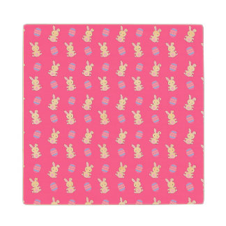 Cute pink baby bunny easter pattern maple wood coaster