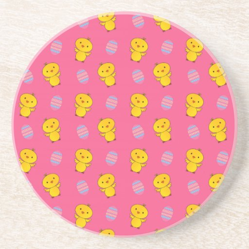 Cute pink baby chick easter pattern coaster