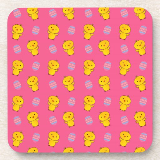 Cute pink baby chick easter pattern beverage coasters